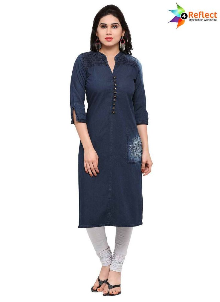 MAJESTIC BLUE DENIM PARTY WEAR KURTI