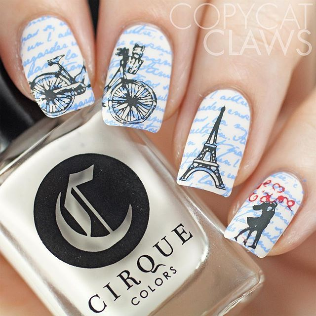Paris in Love nail art,  To use the @uberchicbeauty Paris In Love mini plate I did a double stamping mani.  I started with two coats of @cirquecolors Don't Forget The Cannoli (Italian) that I stamped the French quote on with @mundodeunas Holland Blue (Mexican brand with a Dutch color name). The rest was stamped with MDU Black and Red so all the French flag colors were included.  Most multi cultural mani ever!