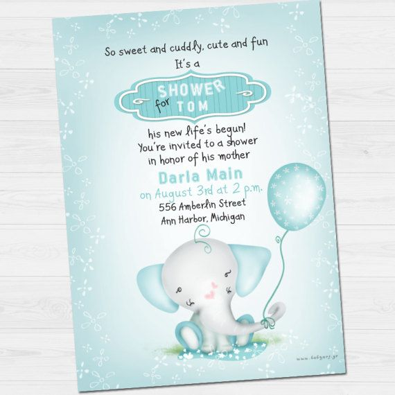 Shower Party Invitation with name &  thank you by babyartshop