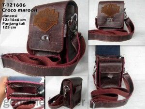 Tas Kulit Harley Davidson [T-121606] Maroon