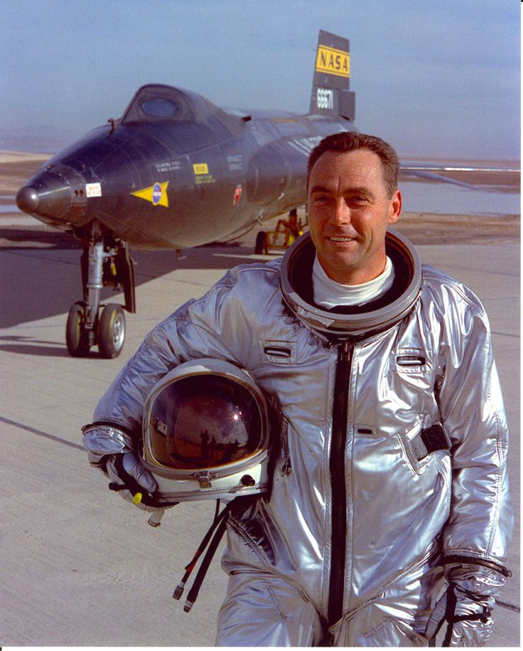 "Maj. William ""Pete"" Knight standing in front of the modified X-15A-2 which he flew to its maximum speed of Mach 6.7 or 4,520 mph, a speed which remains the fastest anyone has ever flown an aircraft Oct. 3, 1967 [[MORE]]..."