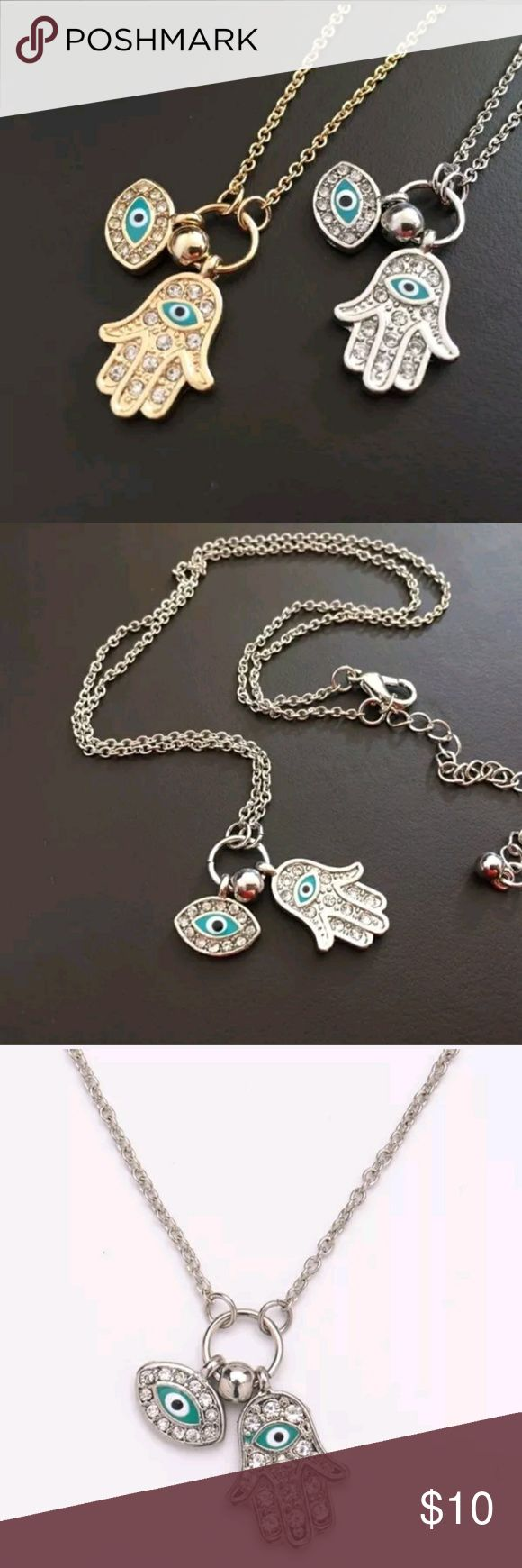 Blue Evil Eye Charms Hamsa Hand Fatima necklace Cute evil eye and fatima hand necklace with diamonds . Available in gold & silver Jewelry Necklaces