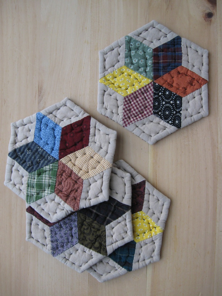 Handmade Fabric Coasters - Quilted Coasters - Mug Mats   Rustic Decor Primitives Country Decor Farmhouse Kitchen Housewares. $17.00, via Etsy.