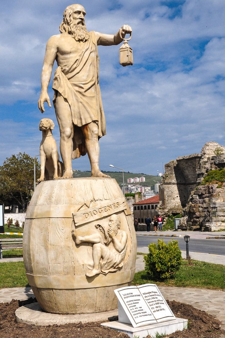 A modern statue of the Cynic philosopher Diogenes is located at the entrance to Sinope. Diogenes was born in Sinope in 412 B.C. (or 404) and died in Corinth in 323 B.C. (the same year Alexander the Great died).