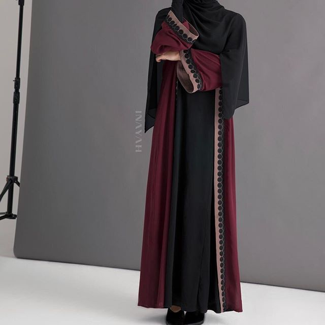 Deep winter hues - Limited Edition Kimono featuring colour blocks with contrast lace trim. Pair with our Soft Crepe Hijabs for a modest chic look! Dark Maroon Belted Kimono With Lace - Last pieces remaining www.inayah.co