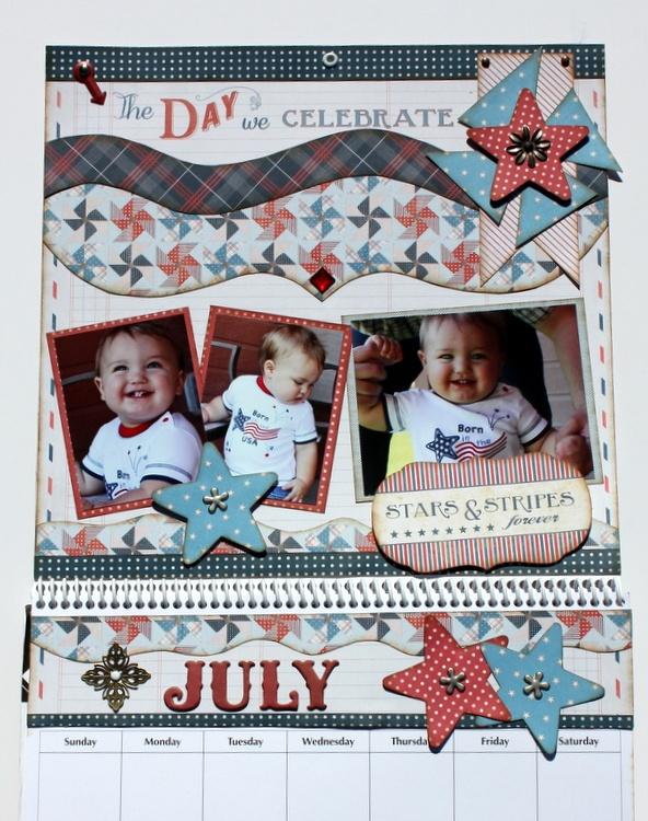 July Calendar designed by Debbie Budge for Kiwi Lane Designs