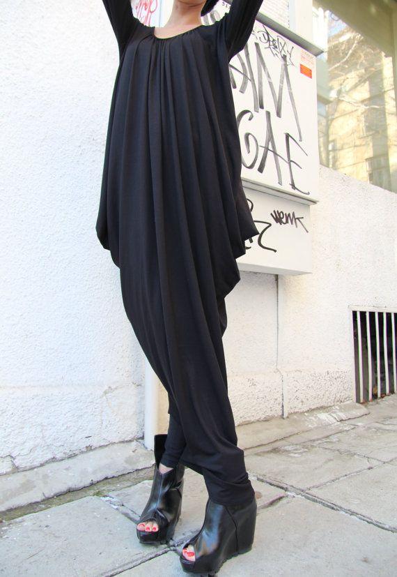 Black Asymmetric Maxi Dress / Loose Extra Long Sleeve Kaftan on Etsy, $79.00
