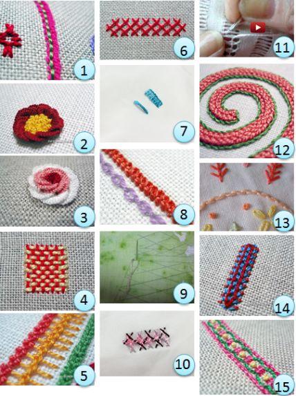 Stitch tutorials:  http://needlework.craftgossip.com/category/needlework-general-news/tutorials/page/2/