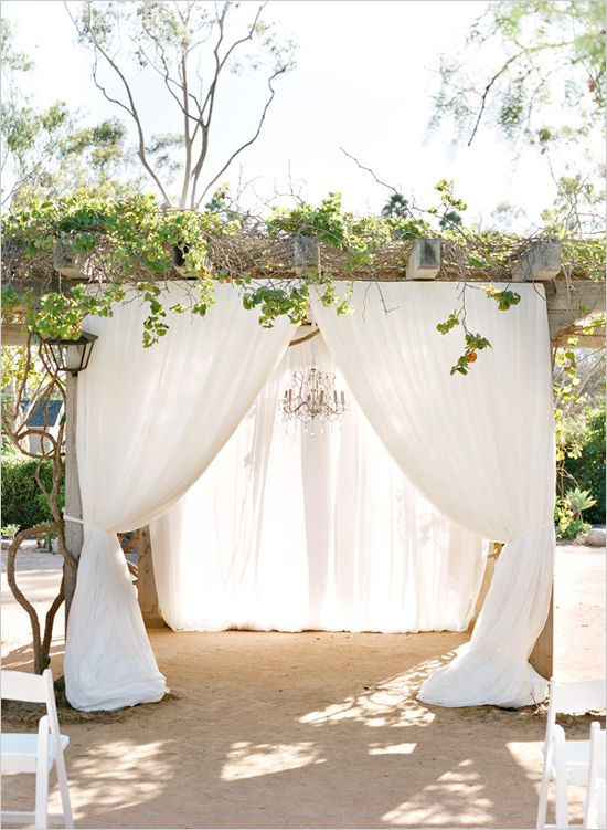 fabric drapped wedding arbor Linda Chaja Photography  Magnolia Event Design Wedding Planner and Event Designer @weddingchicks Santa Barbara Historical Museum preferred event planner Chandelier simple clean ceremony