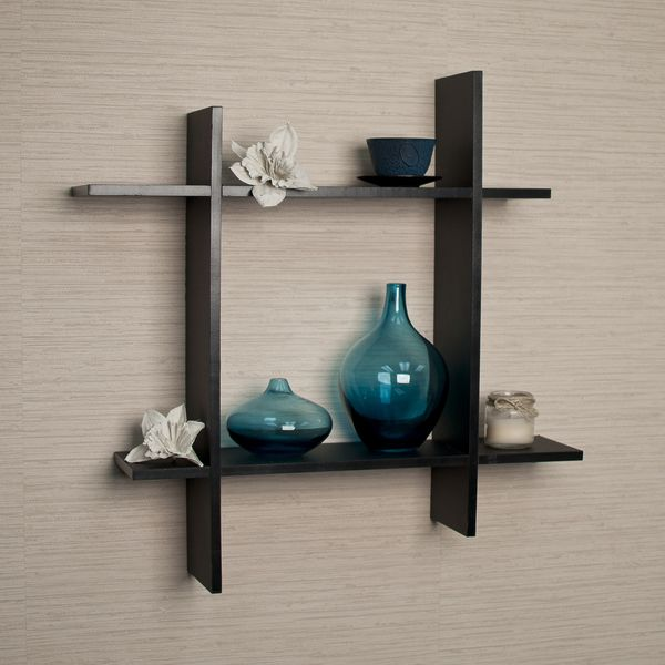 Asymmetric Black Laminate Square Floating Wall Shelf