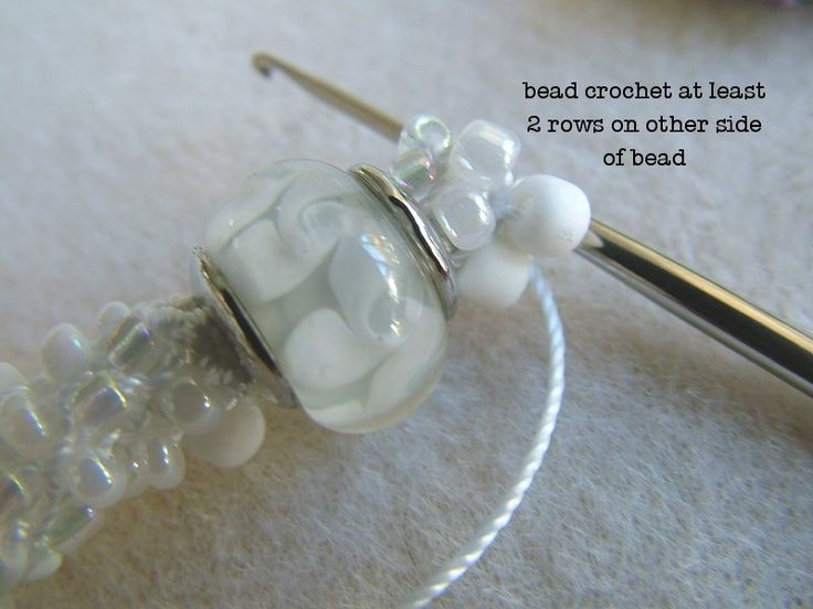 3 beaded crochet projects with details on how to add larger beads in a crochet rope.