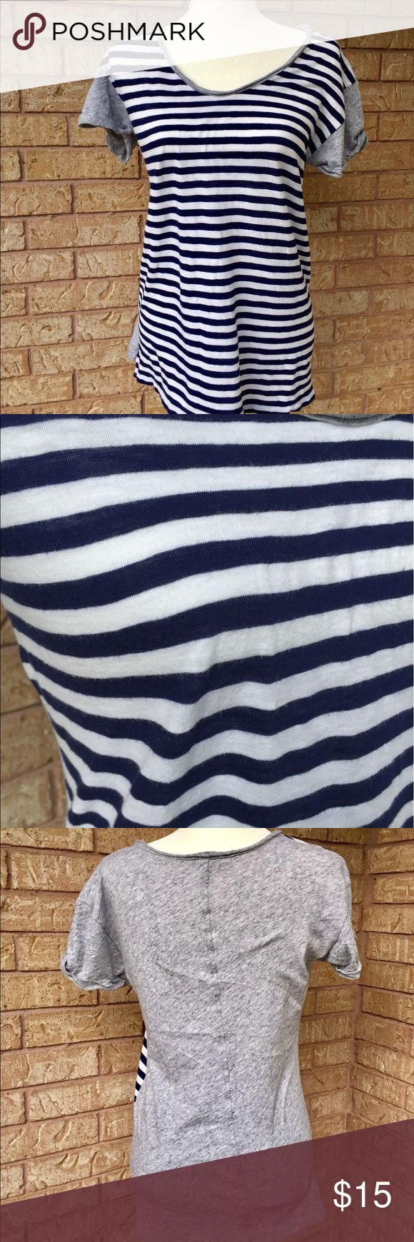 J. Crew Striped Top Blue and white striped short sleeve top from J. Crew in a size small. Grey on the back. Worn only a couple times. Great condition, no flaws! 100% cotton. Great to wear with blue or white jeans! J. Crew Tops Tees - Short Sleeve