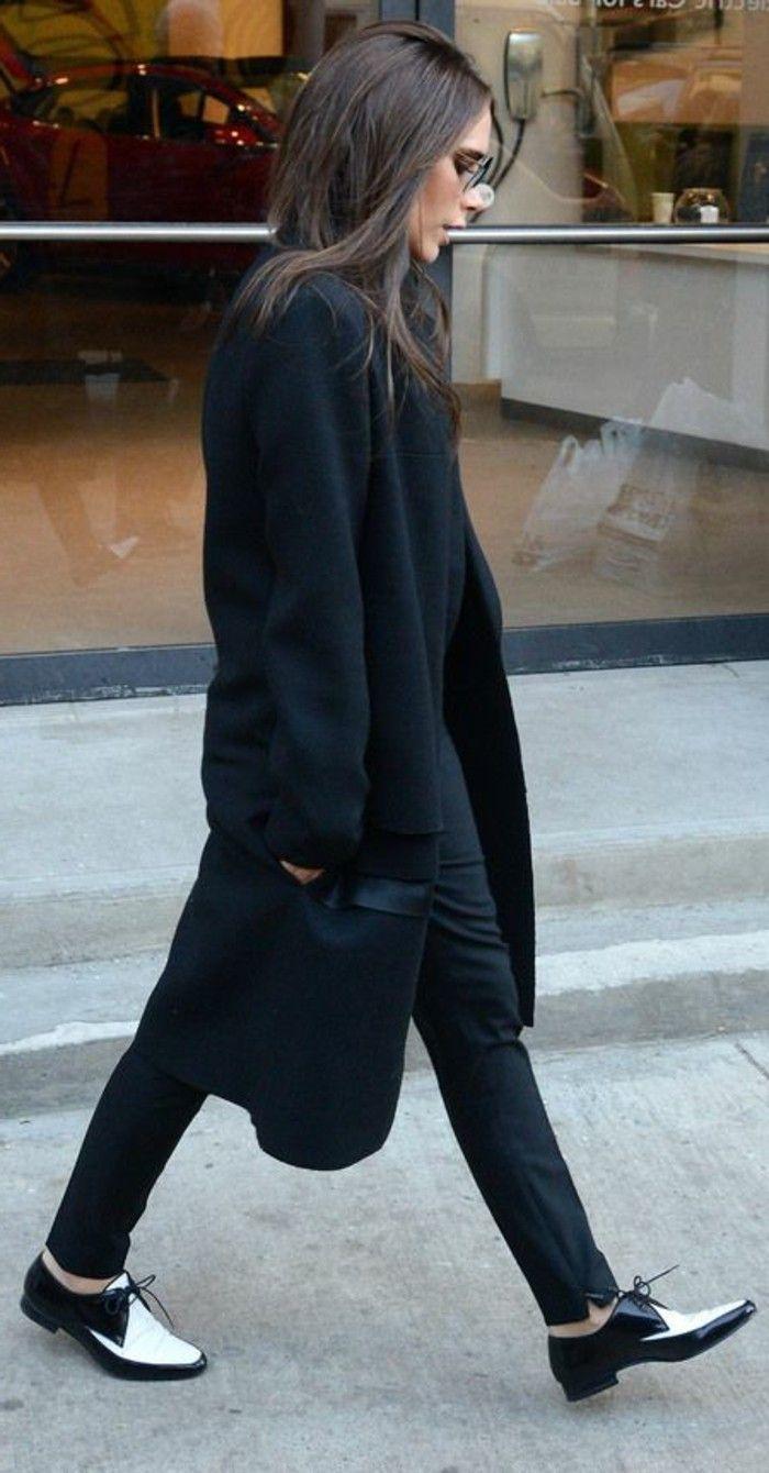 chaussure derbie pas cher, manteau noir pour les femmes élégantes