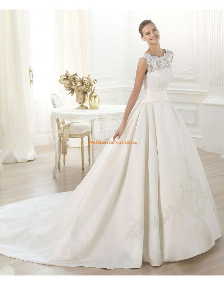 Robe de mariée 2015 avec traine satin dentelle