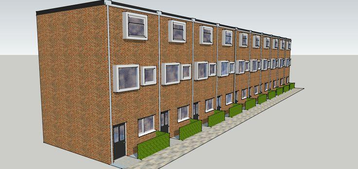 Dit is een exacte visualisering van wat voor rijtjeshuizen ik in de wijk zou willen zien.  Bron: Joep van Motman (zelf ontworpen)