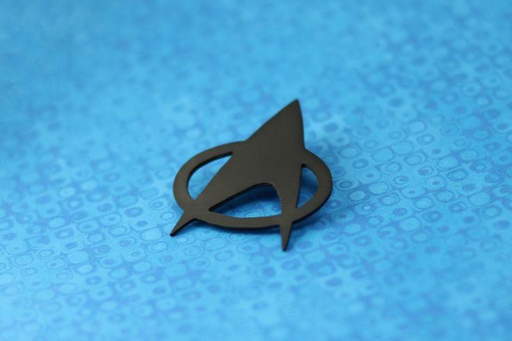 Star Trek Badge | Minimalist black Star Trek badge (magnetic brooch) inspired by the original Star Trek TNG Communicator Badge. | scroll saw cutting, material: HIPS polystyrene