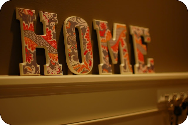 Decorative wooden letters with scrapbook paper.