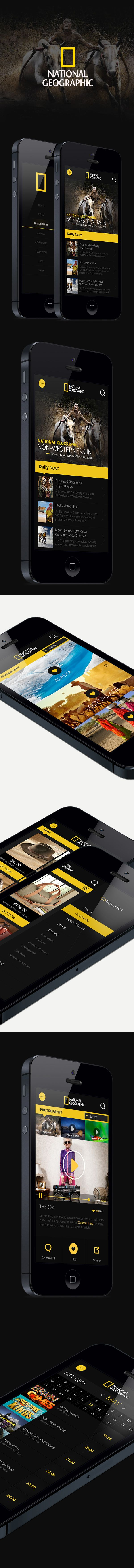 I have done a concept design for National Geographic iPhone App. I adopted Flat Design Approach as much as it can be, by using yellow and black colour tones mainly and with powerful visuality.