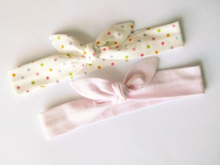Dwie śliczne opaski pin up wąskie kropki różowa - MadebyKaza - Opaski dla niemowląt