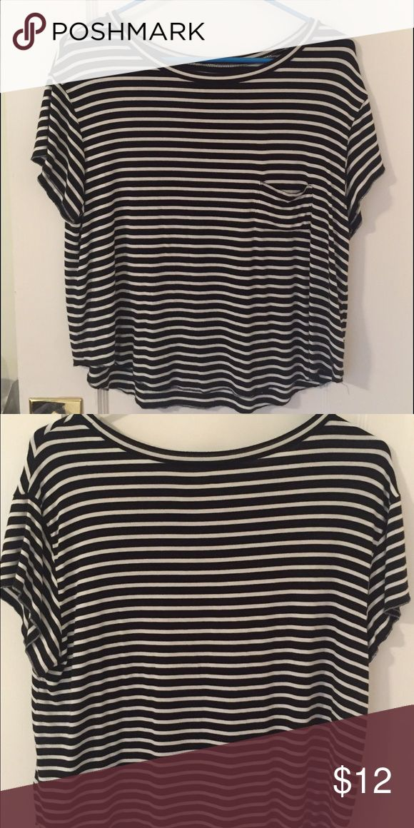 Black and White Striped Short Sleeve Shirt Black and White Striped shirt from American Eagle. Only worn a few times. American Eagle Outfitters Tops Tees - Short Sleeve
