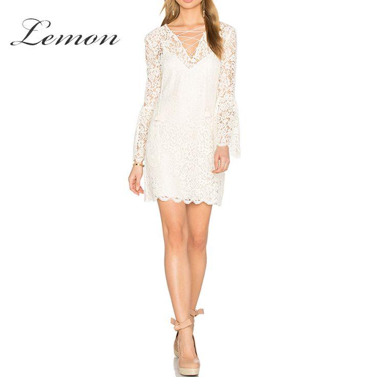 Lemon Lace Women Solid White Hollow Out Mini Dress V-Neck Cross Strap Lantern Sleeve A-Line Dress Double Layer Sexy Slim Dress