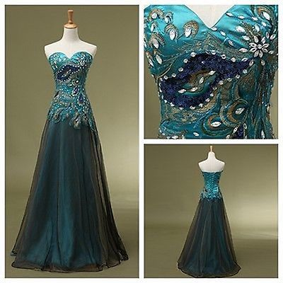In Stock Peacock Prom Dress Real sample Cocktail Bridesmaid Gown Party Dresses