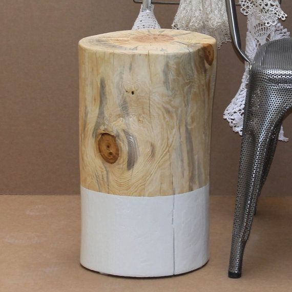 White Paint Dipped Wax Tree Stump Side Table By Realwoodworks1