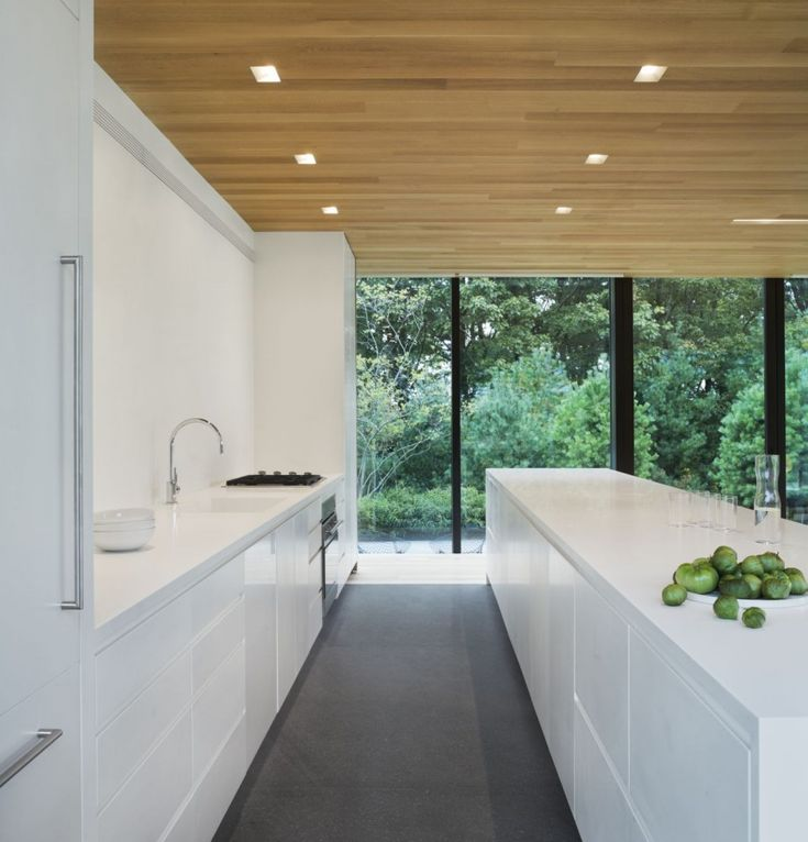 white kitchen/timber ceiling/clear lines http://www.archdaily.com/363807/lm-guest-house-desai-chia-architecture/51770c1ab3fc4bc676000016_lm-guest-house-desai-chia-architecture_lm_guest_house-kitchen-jpg/