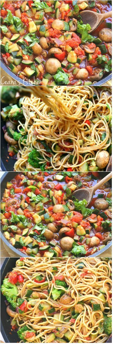A bright + vibrant Healthy Pasta Primavera that comes together quickly + easily.