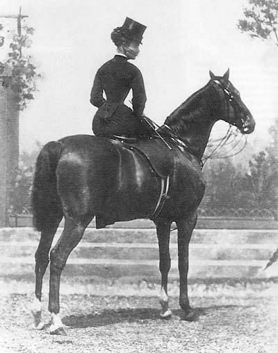Catherine 'Skittles' Walters, courtesan of Victorian London, noted horsewoman and famed for having the tightest riding-habit in Britain.#throwbackthursday #equestriansports #ilovehorseriding