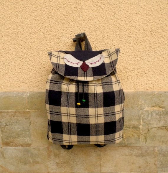 The owl backpack Wool drawstring bag by MariasHappyThoughts