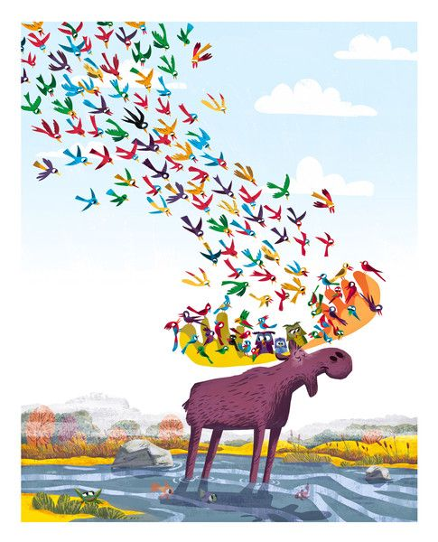 A moose in zen; from Pickle Punch: Art that kids relish