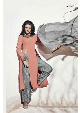 couleur pêche georgette salwar kameez, - 121,00 €, #Robepakistanaise #Robeindienne #Salwarkameez #Shopkund
