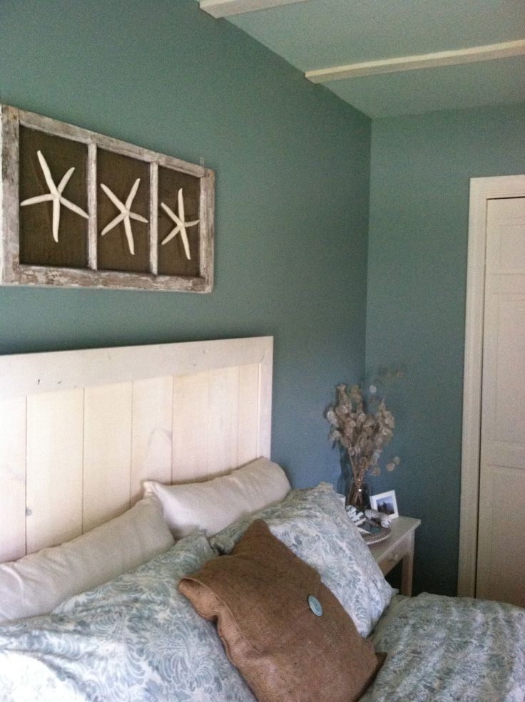 Custom headboard with wall art diy beach bedroom for Bedroom curtains designs