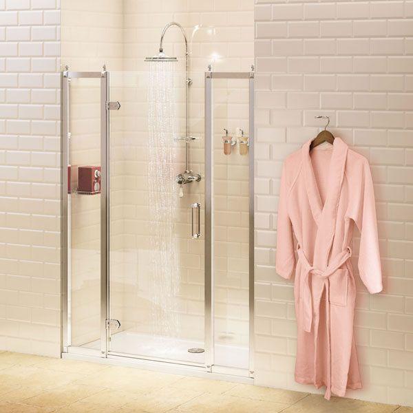 Burlington Traditional Inline Hinged Shower Door 1200mm Wide 8mm Glass Shower Doors Cubicle Design Shower Cubicles