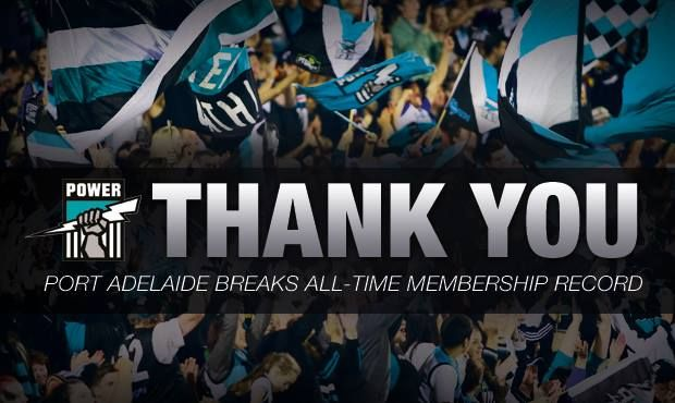 A simple 'Thanks' to fans, seen here from the Port Adelaide Power is always a nice way for a competition or teams to thank fans for their support.