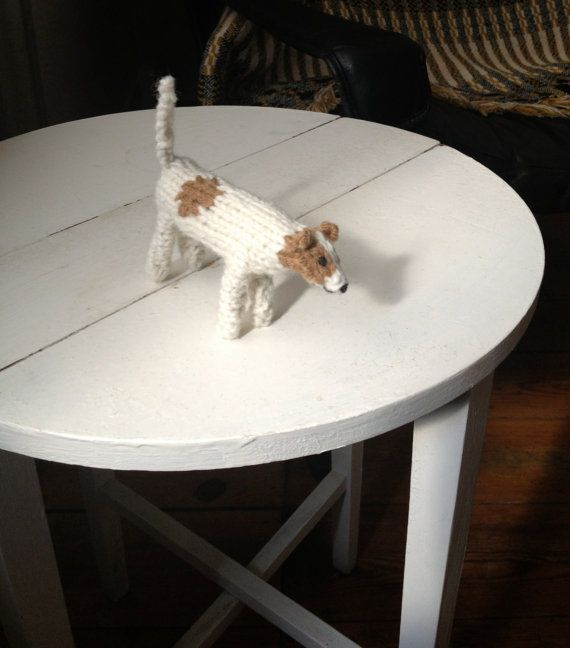 Parson's Jack Russell Terrier dog knitted in wool