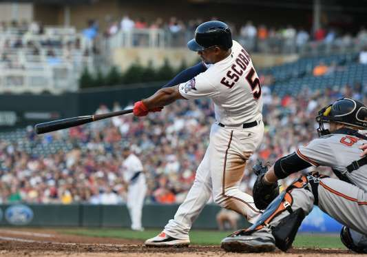 HITTING HARD:    The Twins Infield Eduardo Escobar hits a triple during the game between the Twins and the Orioles on July 6 in Minneapolis. The Twins defeated the Orioles 6-4.
