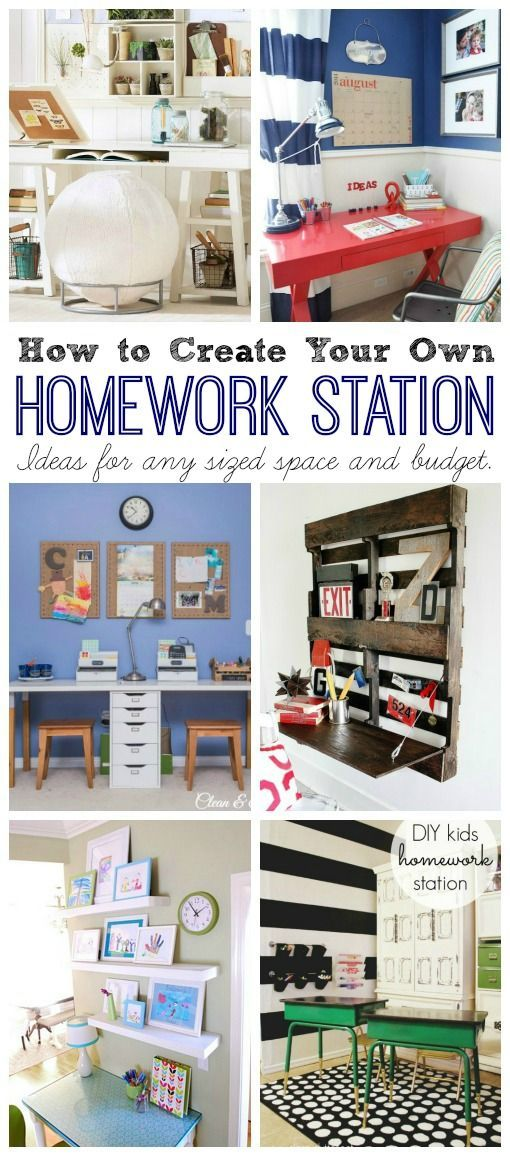 Lots of fun ideas for creating a homework station with any sized space and budget! // http://cleanandscentsible.com