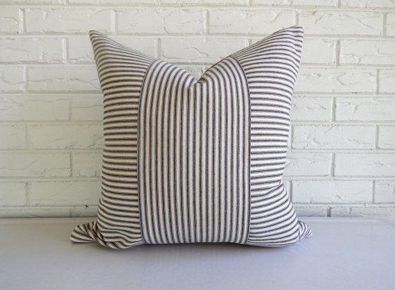 Ticking Throw Pillow Black Stripe - Rustic Modern Decor - Modern Farmhouse - Industrial Home Accessories