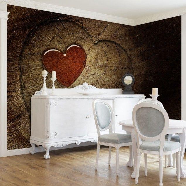 Tapete Holzoptik - Vliestapete Premium - Natural Love - Holz Fototapete Breit