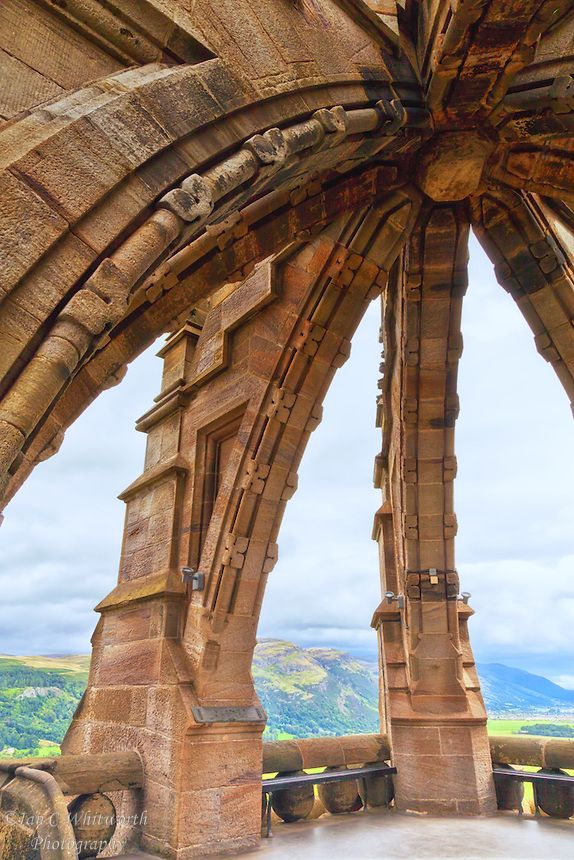 Looking out at the very top of the National Wallace Monument in Stirling Scotland.