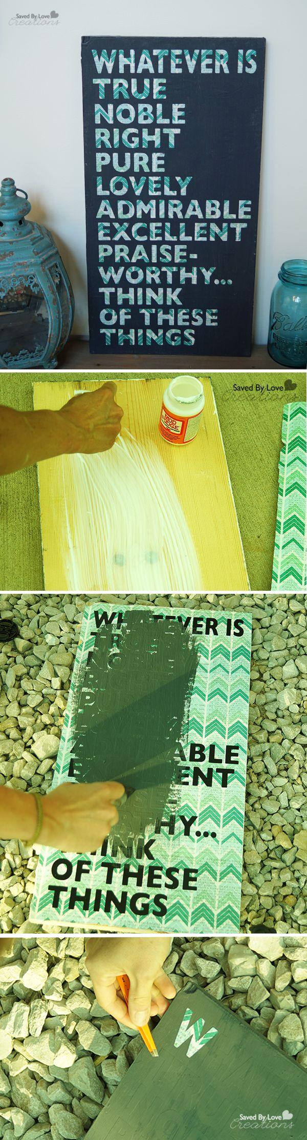 DIY Chalk Paint Reclaimed Wood Scripture Art @savedbyloves