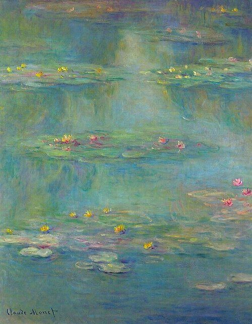 'Nymphèas at Giverny' by Claude Monet (1840-1926), painted in 1908. The artist's signature and date are visible in the lower left of the painting.