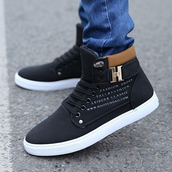 2019 HOT SALE Men's Shoes Fashion Leather Shoe Casual High Top Sneakers Shoes