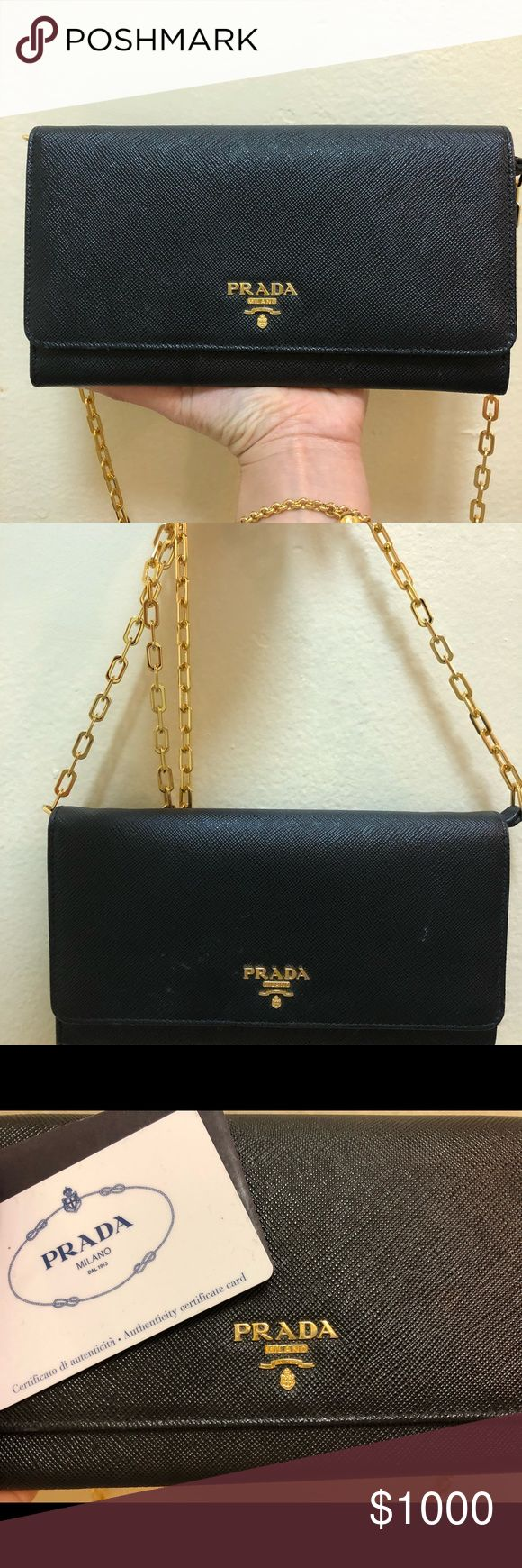 ✨Prada✨ Wallet with chain Good condition wallet with gold chain  100% authentic with card  Comes with Box and bag Prada Bags Wallets