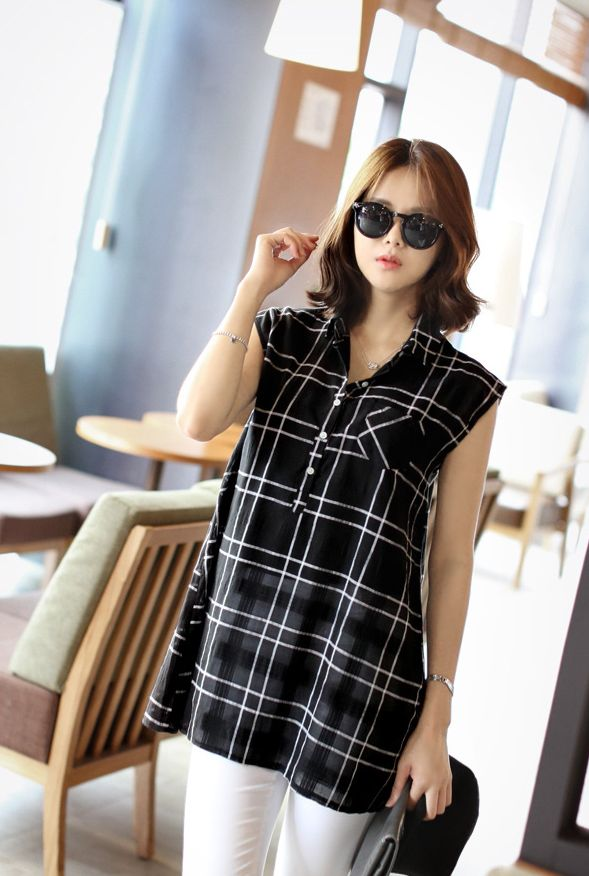 Republic of Korea reigning Women's Clothing Store [CANMART] Half-open check shirt / Size : FREE / Price : 37.41 USD Check the pattern of sensory UP A-line silhouette style cover body! #shirt #check #pattern #sleeveless #koreafashion #womanfashion #dailylook #missy #OOTD #CANMART