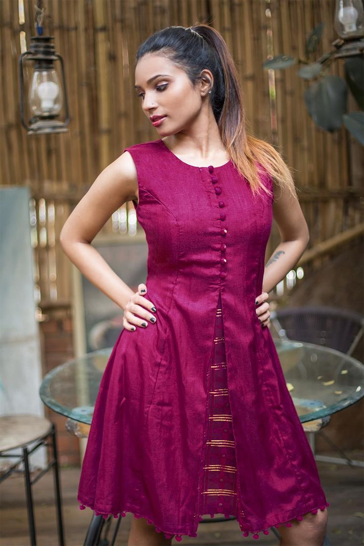 Buy house of blouse wine silk front cut kurti online in india at best price we go by the motto pink never fails this hot fuchsia pink dress with centre