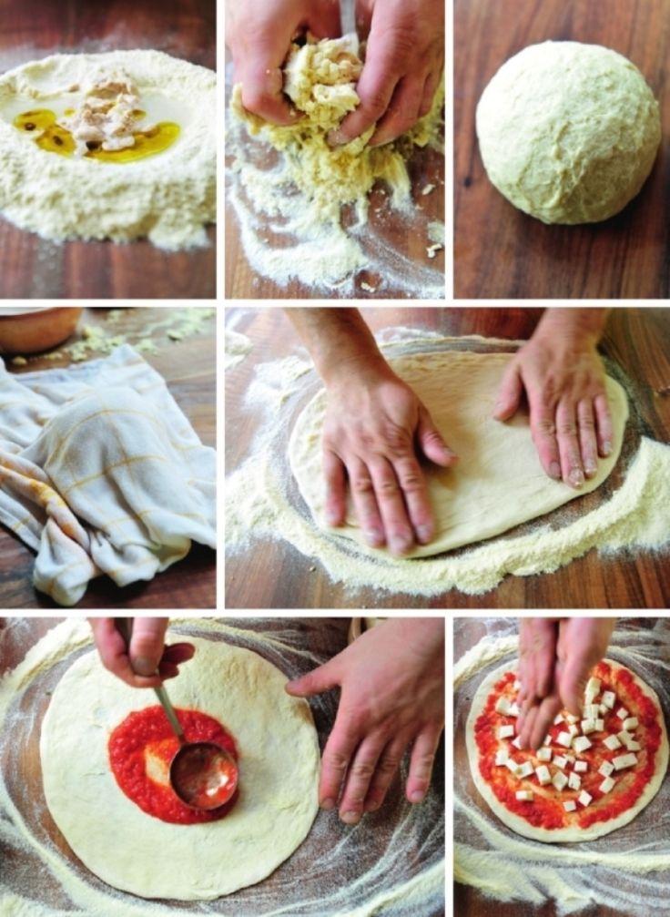 Bereiden: Strooi de bloem uit op je werkblad en maak een kuiltje. Meng de olijfolie, het zout en de suiker erdoor. Los de verse gist op in het water. Giet het gistmengsel bij de bloem. Kneed het mengsel met de hand tot een homogeen en glad deeg. Rol het deeg tot een bol.