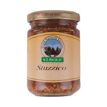 Bardzo ostra siekanka warzywna. Drobno pokrojone, ekologicznie warzywa delikatnie zanurzone w oliwie z oliwek, z dodatkiem papryczki chili znakomicie uzupełnią smak marynat i farszu do warzyw i mięs.